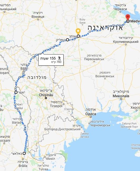 גאלאצי__רומניה_to_Medvedivka_-_מפות_Google